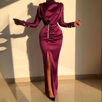 Sexy Elegant Long Sleeve Side Slit Wrinkle Evening Dress