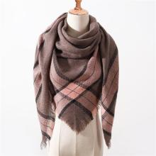 2020 Winter Scarf Women Knitted Plaid warm Scarves Triangle Shawls Wrap Warm Cashmere female Pashmina foulard echarpe bandana