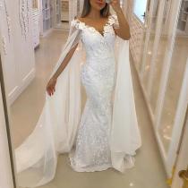 Fashion Elegant V-Neck Lace Mesh Evening Dress