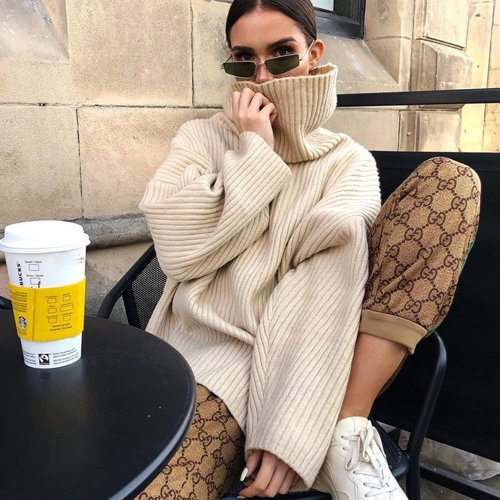 Oversized High Neck Knit Sweater- Beige