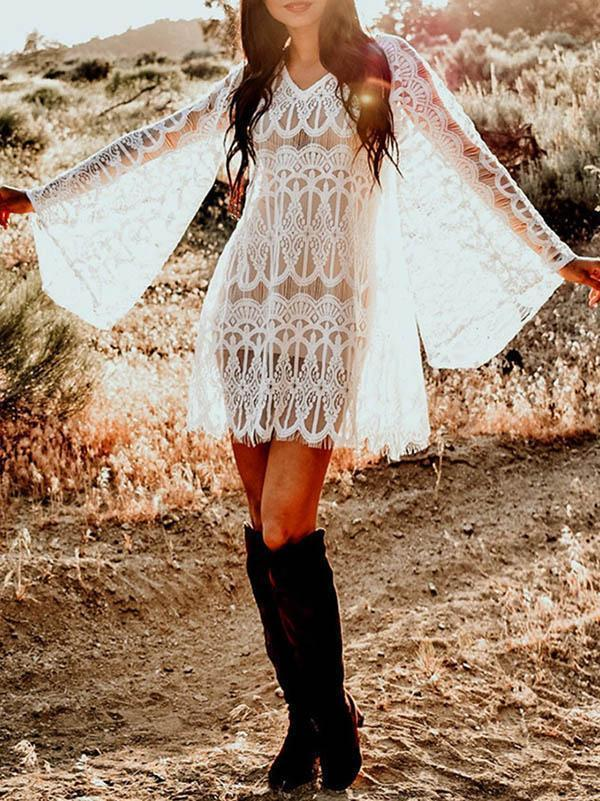Full Lace Embroidered Flared Sleeve Hollow Vacation Beach Cover-Ups