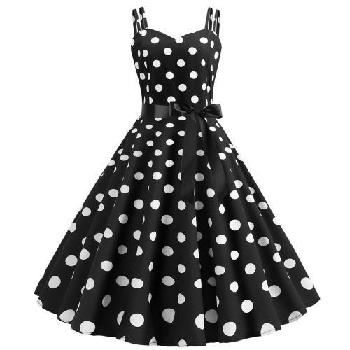 Polka Dot Vintage Dress Women 2019 Summer Sexy Strapless Halter Party Dresses Vestidos Plus Size Robe Pin Up Rockabilly Dress