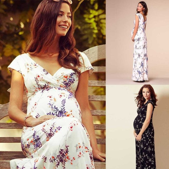Fashion Maternity Dresses Summer Pregnancy Clothes Women's Floral Short-Sleeved Dress Pregnant Women Maternity Dress