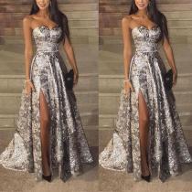 Sexy Silver Sleeveless  Sequins Fishtail Evening Dress