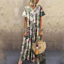 Casual V Neck Short Sleeve Printed Colour Pressure Plait Dress