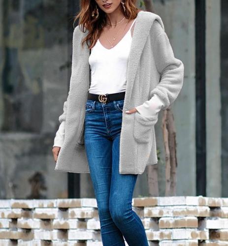 Fashion Woolen Solid Color Coat