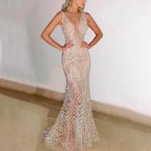 Sexy Sleeveless Deep V Dress Sequined Dress