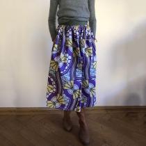 Vintage Fashion Printed Purple Skirt RY58