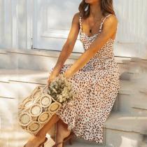 Sexy leopard suspenders ruffled dress