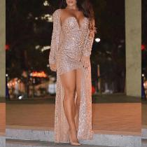 Sexy Sequins Long Sleeve Bodycon Dress