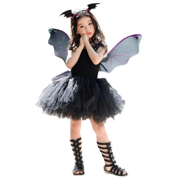 Girl Halloween Cosplay Costume Children Black Bat Princess Kid Party Dress