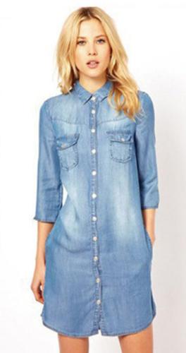 Turn-down Collar 1/2 Sleeves Plus Size Long Denim Blouse