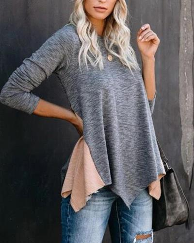 Contrast Spliced Long Sleeve Top