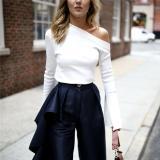 Wild Solid Color Turtlenk Long Sleeve Shoulder T-Shirt