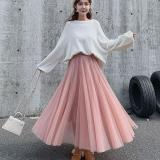 Mesh Women's Tulle Skirt Women Midi Black  Long Pleated Tulle Skirts For Women High Waist Skirt Female Tutu Skirt Spring Summer
