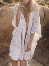 Lace Pompoms Cover-Ups Swimwear