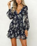 Long Sleeves Printing Dress Mini Dress
