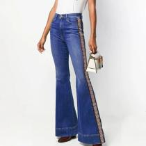 Street retro personality trumpet female jeans