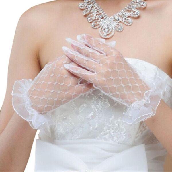 Bridal Lace Net Yarn Gloves Wrist Length Gloves Finger Short Wedding Accessories Wedding Gloves Women Summer Gloves
