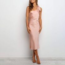 Sexy Sloping Shoulder Pink Dress