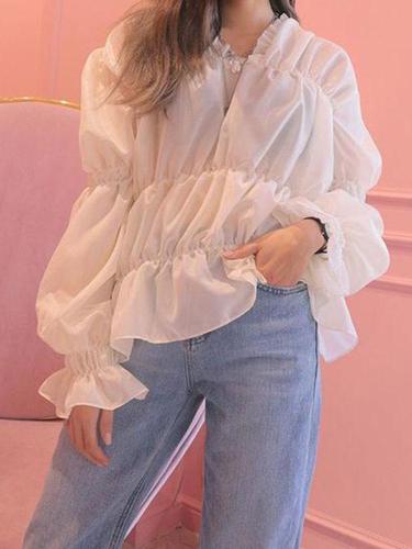 Women's Casual Pure   Color Ruffled Horn Sleeve Chiffon Shirt