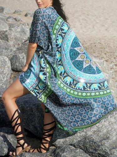 Printed Beach Skirt Sun Cover-Ups