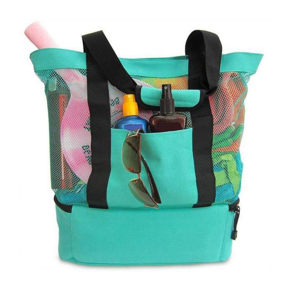 Foldable Big Capacity Outdoor Portable Picnic Beach Mesh Bags Handbag Storage Bag Park Toys Towel Clothes Organizer Swimming Bag