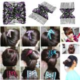 Vintage Flower Bead Stretchy Hair Combs Accessories Double Magic Slide Metal Comb Elasticity Clip Hairpins for Women Headband