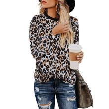 Women's Leopard Print Cute Short Sleeve Crew Neck Top