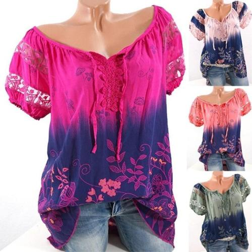 Women Floral Printed Lace Short Sleeve V-neck Blouse T-shirt Tops