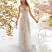 Sexy V Neck Sleeveless Lace See-Through High-Waist Evening Dress