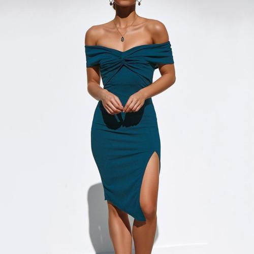 Elegant One Word Collar Side Slit Bodycon Dress