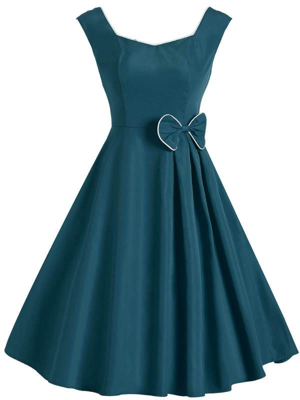 1950s Solid Bow Sleeveless Swing Dress