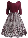1950s Lace Floral Print Patchwork Dress