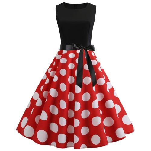 Women 1950s Sleeveless Dresses Retro Polka Dot Floral Music Print A-line Swing Dress