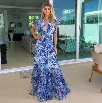 Boho V Neck Ruffled Printed Colour Dress