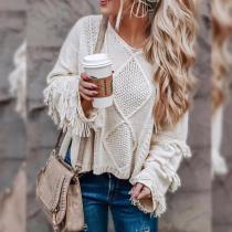 Cable Knit Scoop Tassels Women Loose Short Sweater