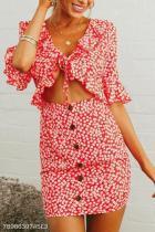 Sexy Deep V Collar Floral Printed Button  Shift Dress