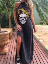 2020 Summer 3D Skull Print Floral Women Punk Long Dress Casual Streetwear Gothic Sleeveless Loose Maxi Dress Female Robe