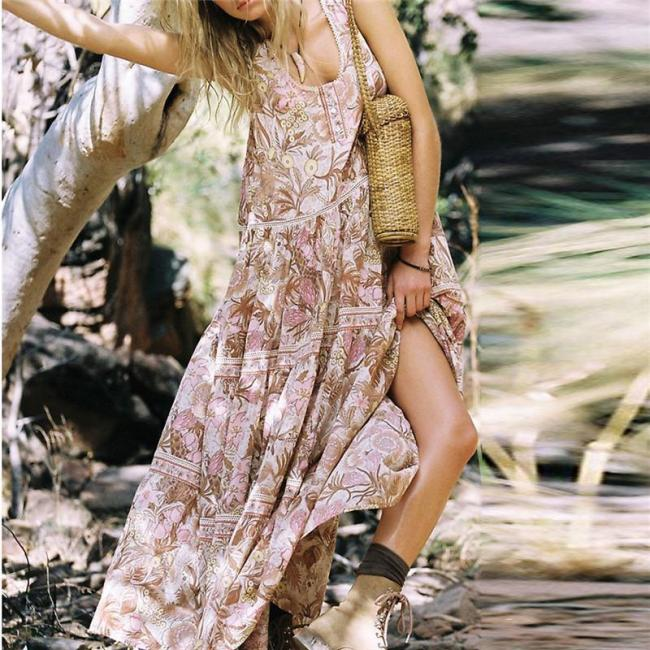 U-Neck Printed Sleeveless Loose Casual Maxi Dresses