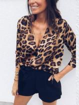 Sexy Deep V Neck Leopard Printed Long Sleeve Blouses