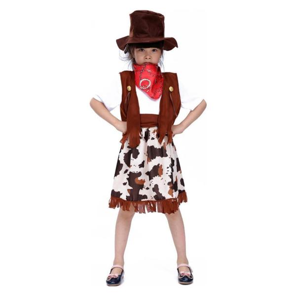 Adorable Little Girls Cowgirl Halloween Costume Wild West Party Cosplay Dress Outfit