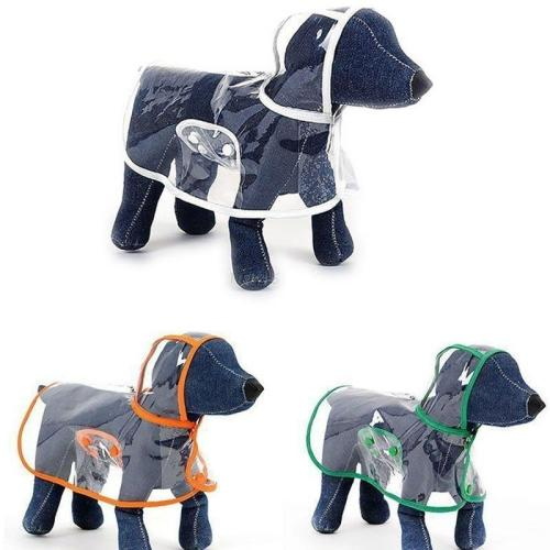Pet Dog Puppy Transparent Rainwear Raincoat Pet Hooded Waterproof Jacket Clothes