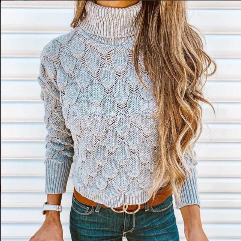 Fashion High Collar Pure Colour Long Sleeve Knitwear