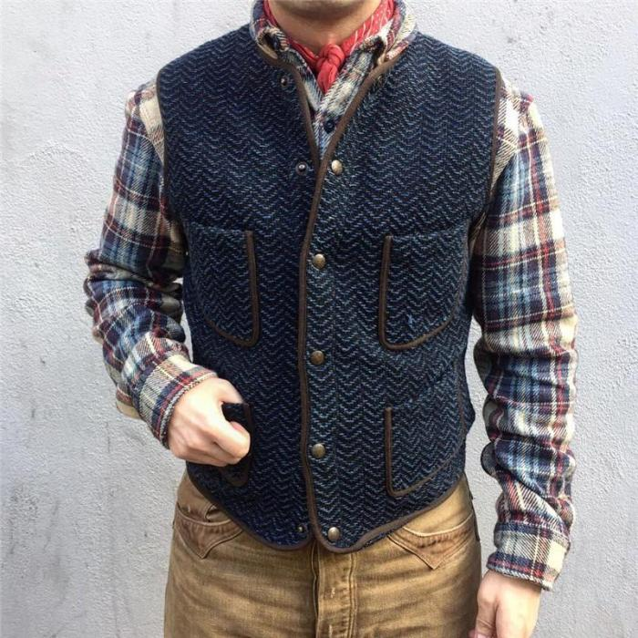 Pocket Single-Breasted Knit Vest