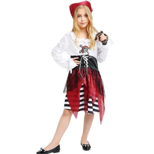 Kids Girls Pirate Costume Dress and Headpiece Set Caribbean Cosplay Halloween Costume