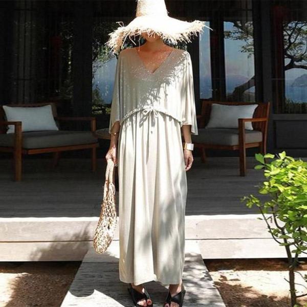 EBUYTIDE Loose V-Neck 3/4 Sleeve Maxi Dress