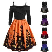 Women Pumpkin Party Print Dress Halloween Long Sleeve V Neck Vintage Casual Plus Size Vintage Dresses