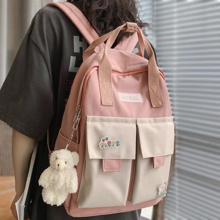 Kawaii Girl Harajuku Backpack Badge Fashion Book Ladies School Bag Women Waterproof Nylon Backpack Cute Student College Bags New