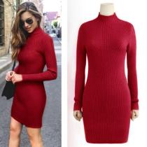 High Neck Bodycon Knitting Long Sweater